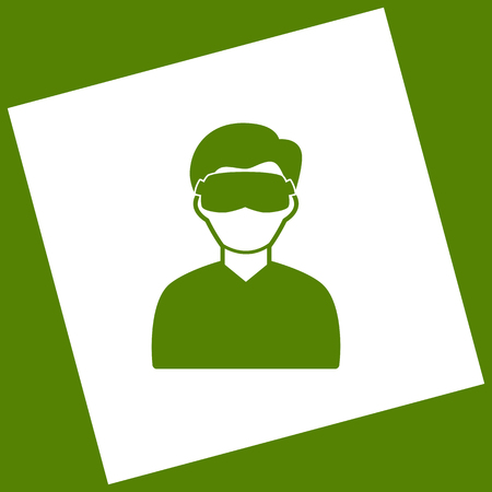 Man with sleeping mask sign. Vector. White icon obtained as a result of subtraction rotated square and path. Avocado background. Illustration