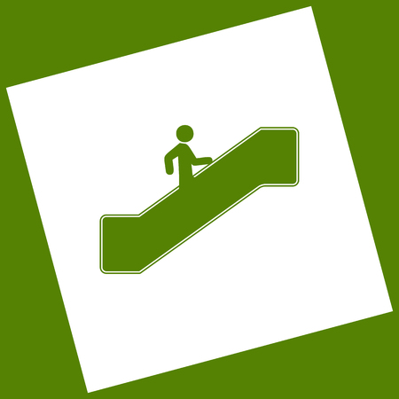 Man on moving staircase going up. Vector. White icon obtained as a result of subtraction rotated square and path. Avocado background.