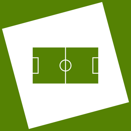 Soccer field. Vector. White icon obtained as a result of subtraction rotated square and path. Avocado background.
