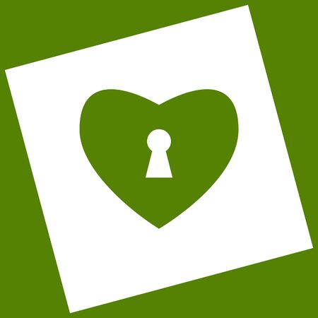 cor: Heart with lock sign. Vector. White icon obtained as a result of subtraction rotated square and path. Avocado background.
