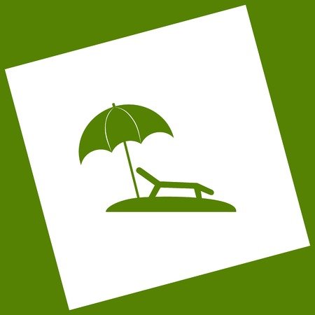 brolly: Tropical resort beach. Sunbed Chair sign. Vector. White icon obtained as a result of subtraction rotated square and path. Avocado background.