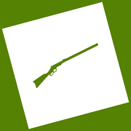 Hunting rifle icon vector illustration. Silhouette gun. Vector. White icon obtained as a result of subtraction rotated square and path. Avocado background.