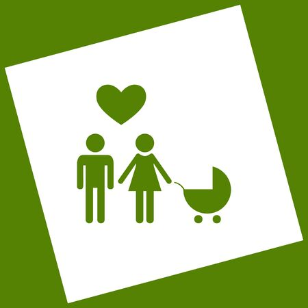 Family symbol with pram and heart. Husband and wife are kept each other`s hands. Love. Vector. White icon obtained as a result of subtraction rotated square and path. Avocado background. Illustration