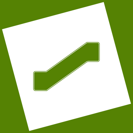 Staircase sign. Vector. White icon obtained as a result of subtraction rotated square and path. Avocado background. Иллюстрация