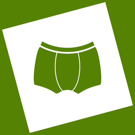 Man`s underwear sign. Vector. White icon obtained as a result of subtraction rotated square and path. Avocado background. Illustration
