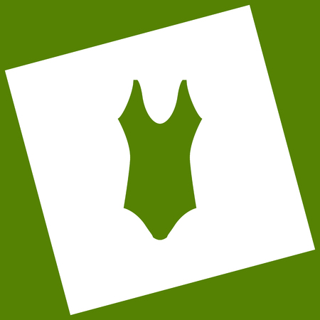 Woman`s swimsuit sign. Vector. White icon obtained as a result of subtraction rotated square and path. Avocado background.