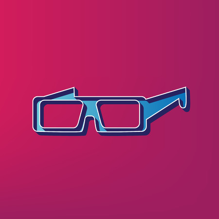 anaglyph: Modern glass sign. Vector. Blue 3d printed icon on magenta background.