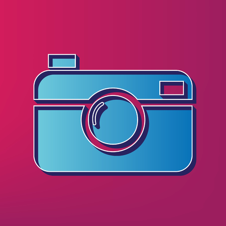 Digital photo camera sign. Vector. Blue 3d printed icon on magenta background.