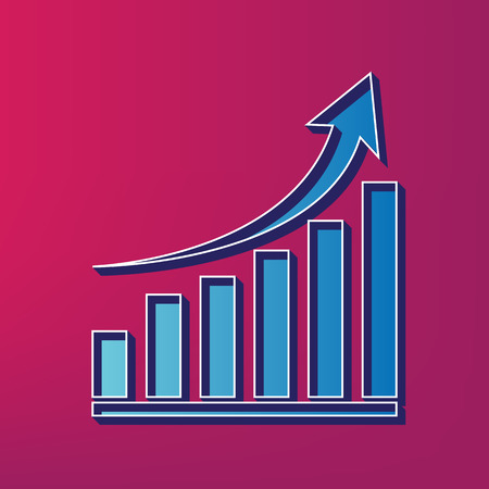 Growing graph sign. Vector. Blue 3d printed icon on magenta background. Illustration