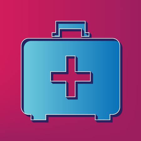 emergency cart: Medical First aid box sign. Vector. Blue 3d printed icon on magenta background.