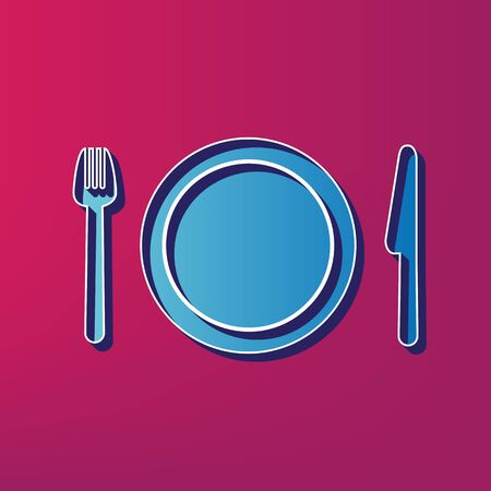 Fork, plate and knife. Vector. Blue 3d printed icon on magenta background. Illustration