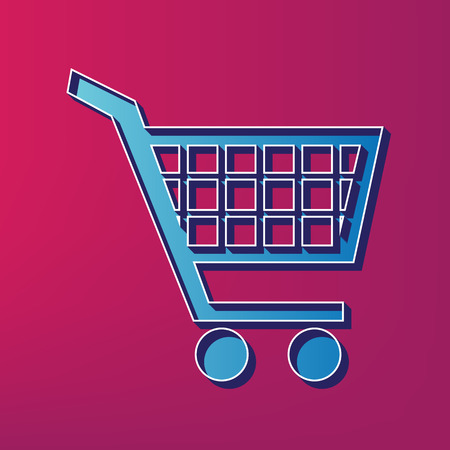 Shopping cart sign. Vector. Blue 3d printed icon on magenta background.