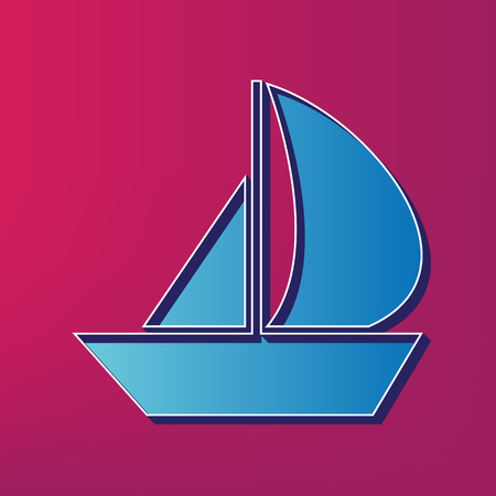 recreational: Sail Boat sign. Vector. Blue 3d printed icon on magenta background.