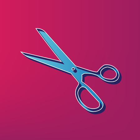 Scissors sign illustration. Vector. Blue 3d printed icon on magenta background.