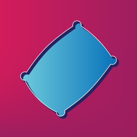 spongy: Pillow sign illustration. Vector. Blue 3d printed icon on magenta background.