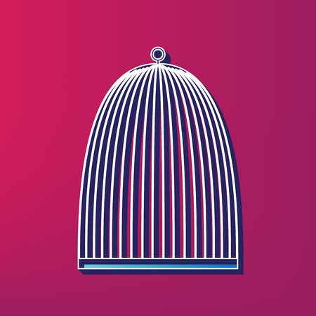 Bird cage sign. Vector. Blue 3d printed icon on magenta background.