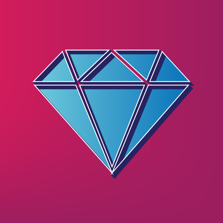 Diamond sign illustration. Vector. Blue 3d printed icon on magenta background.