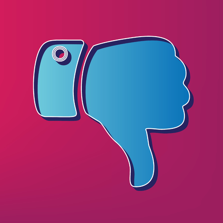 disapprove: Hand sign illustration. Vector. Blue 3d printed icon on magenta background. Illustration