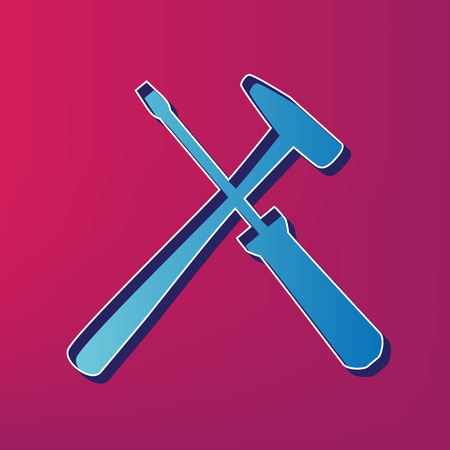 Tools sign illustration. Vector. Blue 3d printed icon on magenta background.