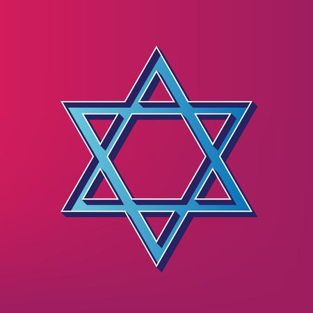 Shield Magen David Star. Symbol of Israel. Vector. Blue 3d printed icon on magenta background.