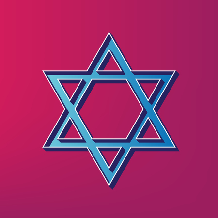 Shield Magen David Star. Symbol of Israel. Vector. Blue 3d printed icon on magenta background.