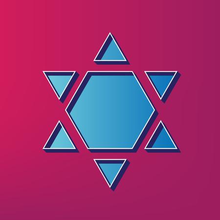 chanukkah: Shield Magen David Star Inverse. Symbol of Israel inverted. Vector. Blue 3d printed icon on magenta background.