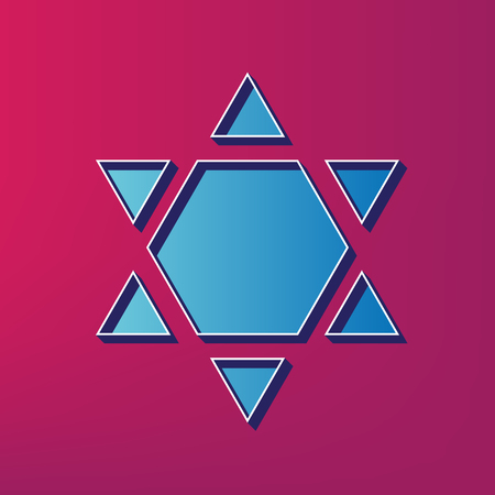 Shield Magen David Star Inverse. Symbol of Israel inverted. Vector. Blue 3d printed icon on magenta background.