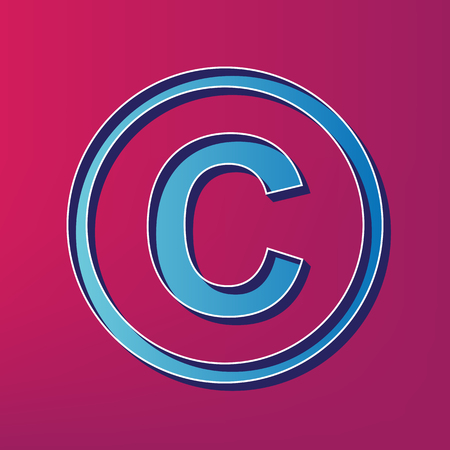 Copyright sign illustration. Vector. Blue 3d printed icon on magenta background.