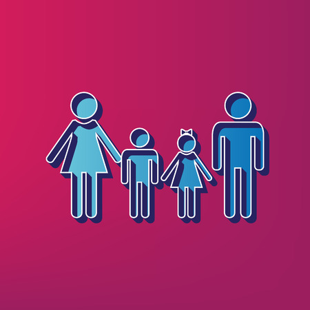 Family sign. Vector. Blue 3d printed icon on magenta background.