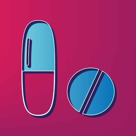 Medical pills sign. Vector. Blue 3d printed icon on magenta background. Illustration