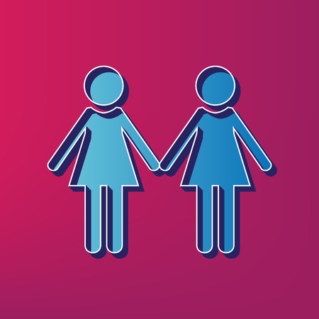 Lesbian family sign. Vector. Blue 3d printed icon on magenta background.
