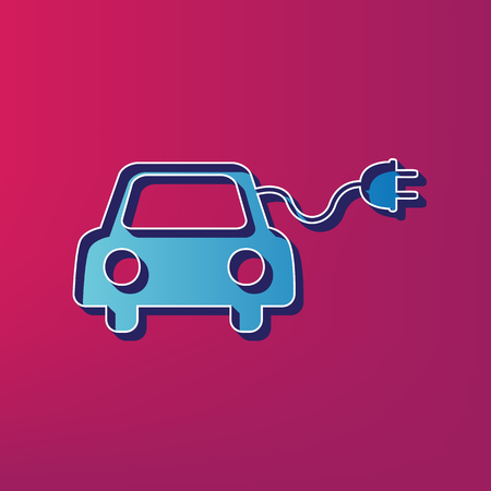 Eco electric car sign. Vector. Blue 3d printed icon on magenta background.