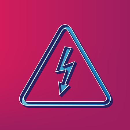 High voltage danger sign. Vector. Blue 3d printed icon on magenta background. Illustration