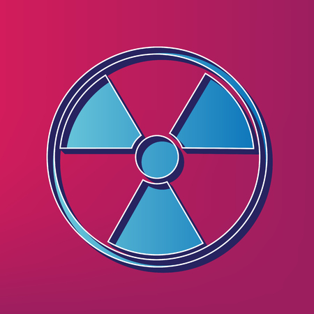 Radiation Round sign. Vector. Blue 3d printed icon on magenta background.