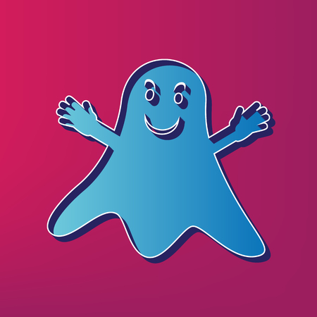 Ghost isolated sign. Vector. Blue 3d printed icon on magenta background. 向量圖像