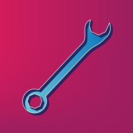 to maintain: Crossed wrenches sign. Vector. Blue 3d printed icon on magenta background.