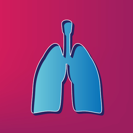 Human anatomy. Lungs sign. Vector. Blue 3d printed icon on magenta background. Illustration