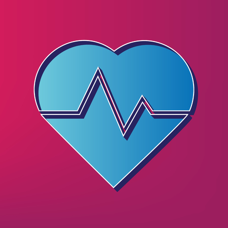 cor: Heartbeat sign illustration. Vector. Blue 3d printed icon on magenta background.