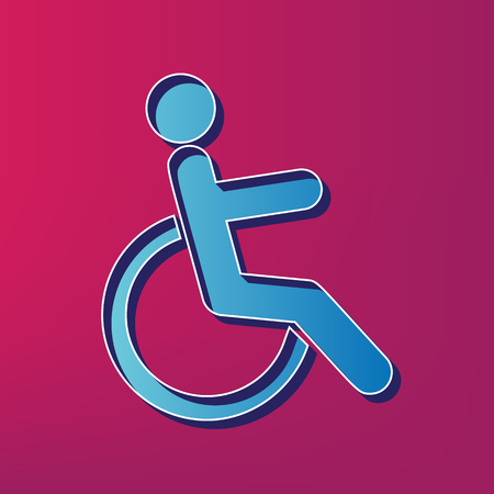 round chairs: Disabled sign illustration. Vector. Blue 3d printed icon on magenta background. Illustration