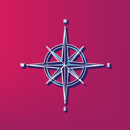 latitude: Wind rose sign. Vector. Blue 3d printed icon on magenta background.