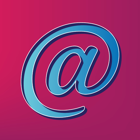 contact info: Mail sign illustration. Vector. Blue 3d printed icon on magenta background.