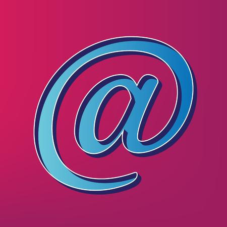 envelope: Mail sign illustration. Vector. Blue 3d printed icon on magenta background.