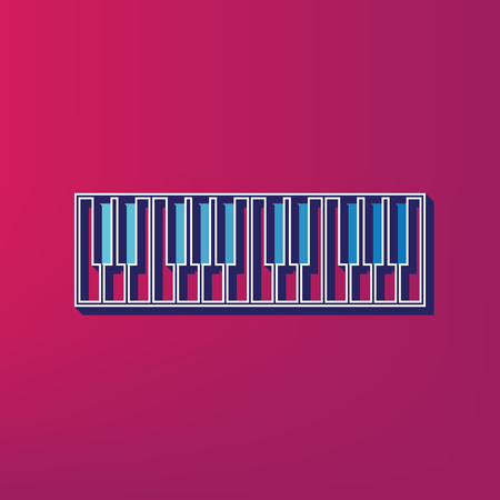 tons: Piano Keyboard sign. Vector. Blue 3d printed icon on magenta background.