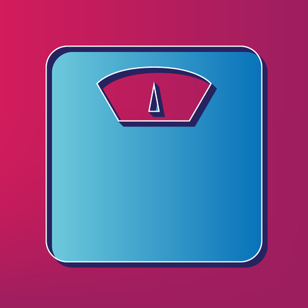 analog weight scale: Bathroom scale sign. Vector. Blue 3d printed icon on magenta background. Illustration