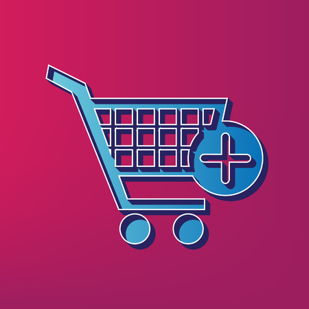 Shopping Cart with add Mark sign. Vector. Blue 3d printed icon on magenta background.