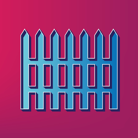 Fence simple sign. Vector. Blue 3d printed icon on magenta background. Illustration