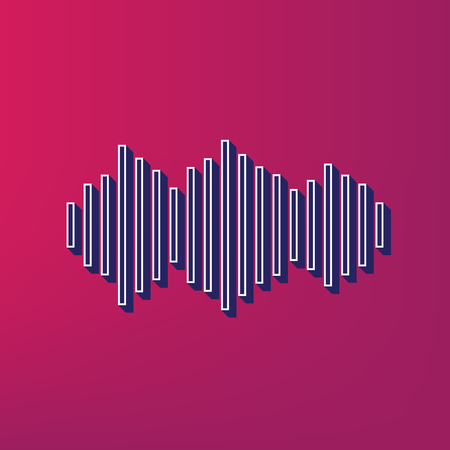 Sound waves icon. Vector. Blue 3d printed icon on magenta background.