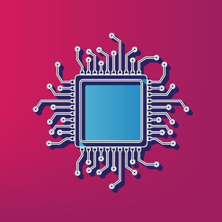 CPU Microprocessor illustration. Vector. Blue 3d printed icon on magenta background.