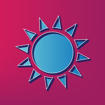 Sun sign illustration. Vector. Blue 3d printed icon on magenta background.