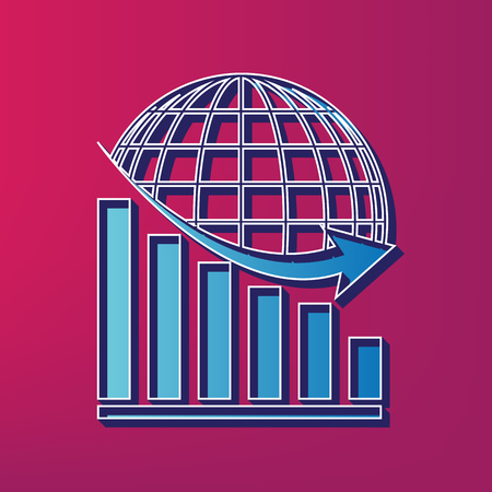 Declining graph with earth. Vector. Blue 3d printed icon on magenta background.